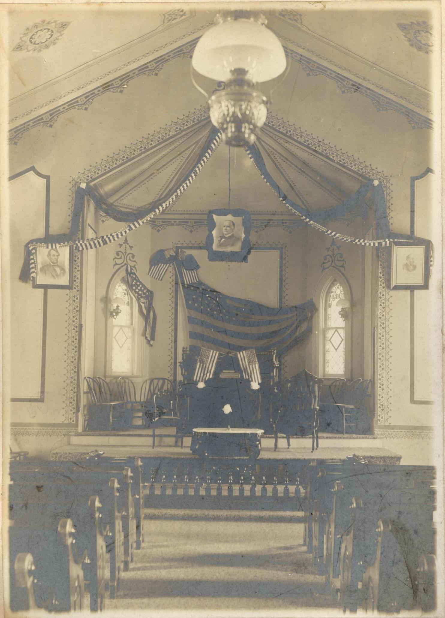Inside the Cook Street church. Taken at the time of President William  McKinley's memorial service. McKinley was assassinated in Buffalo, N.Y.  in September 1901