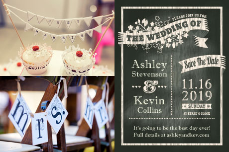 Samples of wedding crafts - banner for chairs, cupcake art, save the date card