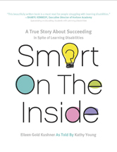 Book jacket for Smart On The Inside, white background with black lettering, pastel colored accents