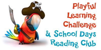 Cartoon image of colorful parrot wearing a black pirate hat, text reads Playful Learning Challenge and School Days Reading Club