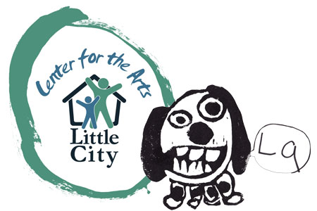 Logo for Little City Center for the Arts, cartoon drawing of a dog saying La