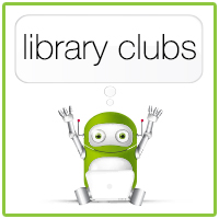 Green robot using laptop computer, text reads library clubs