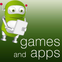 Green robot holding tablet, text reads games and apps