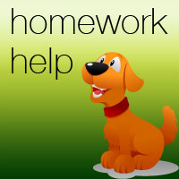 Yellow dog smiling, text reads homework help