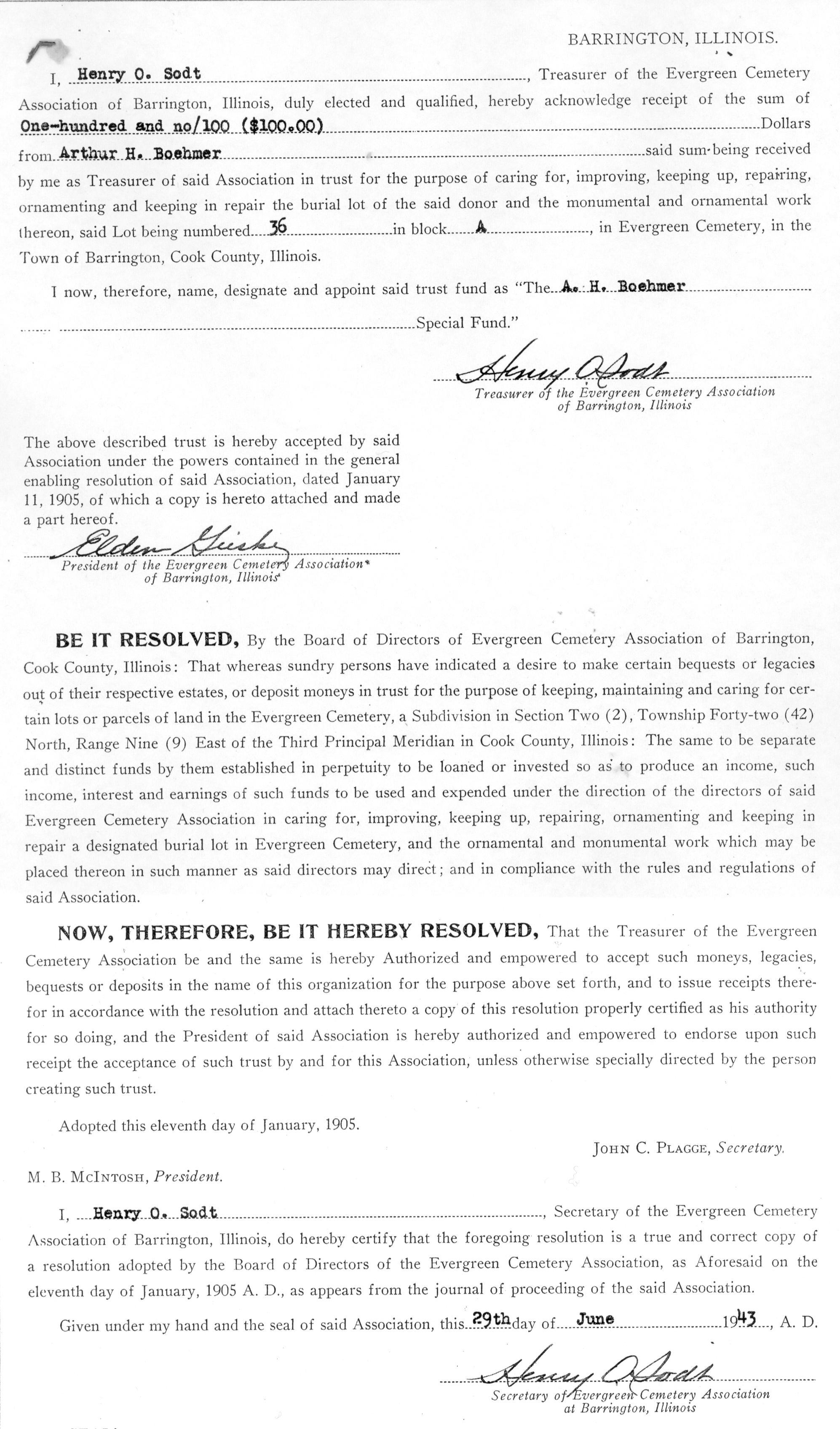 Boehmer, Arthur H (purchase Agreement)