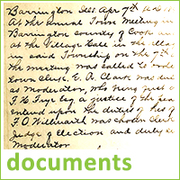 Scan of historical document with text about Barrington, text reads documents