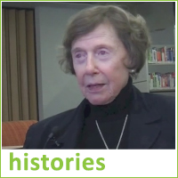 Photograph of thumbnail image from video, woman speaking to camera, text reads histories