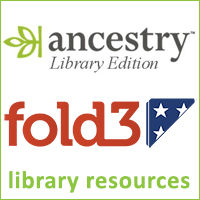 Logos for Ancestry library edition and Fold3 databases, text reads library resources