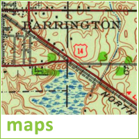 Close-up of old Barrington map, text reads maps