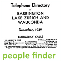 Scan of old telephone directory cover, for Barrington, Lake Zurich, Wauconda, December 1939, text reads people finder