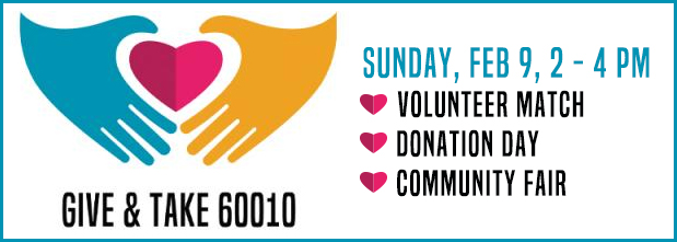 Give & Take 60010, image of hands holding a heart, Sunday, Feb 9, 2-4 PM
