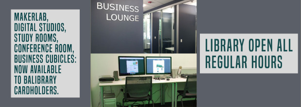 Image of library conference room and study room, text reading that study rooms, business cubicles, and conference room are now open, regular hours have resumed