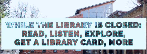Text reading Barrington Area Library, we are here to help, superimposed over blue tinted photo of library building