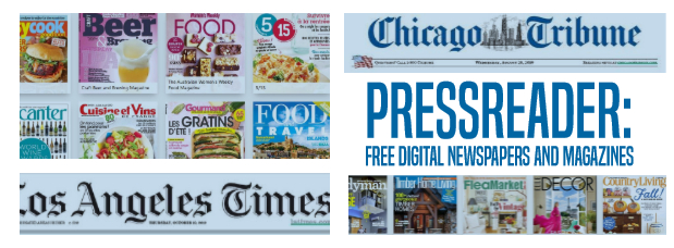 Pressreader: free digital newspapers and magazines, images of Chicago Tribune, Washington Post, a variety of cooking and home magazines