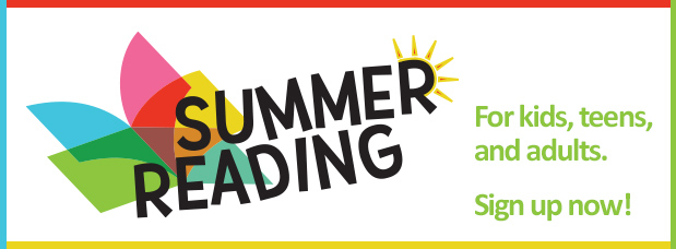 Still time to sign up for Summer Reading - with multi-colored book logo