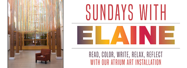 Sundays With Elaine, photo of armchair underneath hanging multi-colored artwork made of string